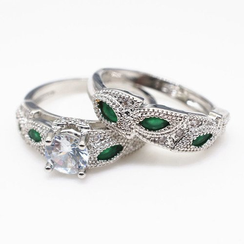 2018 New Design 2pc Set White Gold Fiilled Flower Leaf Round Rings Creative Ring 3